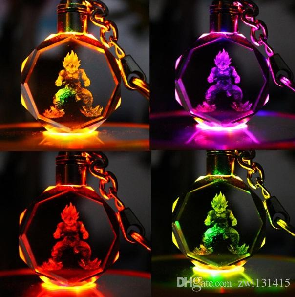 Dragon Ball Keychain Sun Wukong Son Gohan Anime Crystal Action Figure Toys LED KeyChains Key Ring Fashion Jewelry Bag Hangs Drop Shippping