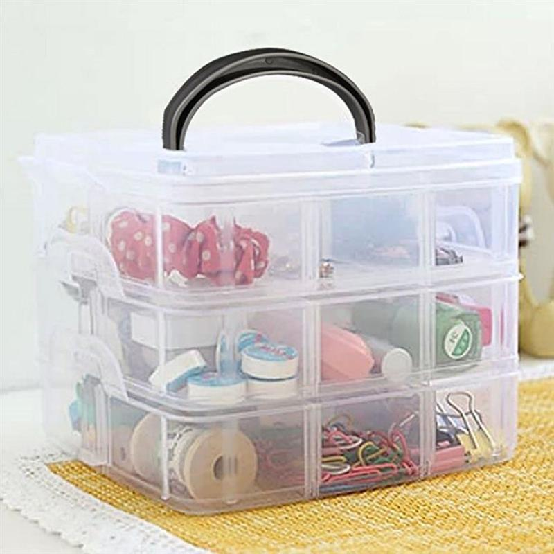 3 Layers 18 Compartments Adjustable Plastic Holder New Jewelry Storage Boxes Makeup Organizer