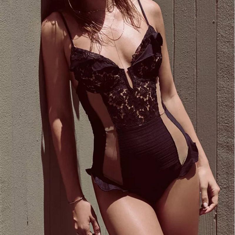 VSHA Sexy Lace bikini Women Black Swimsuit Summer Lacing Flower Swimwear One Piece Suit Brazilian Model Girl Sports Bodysuit