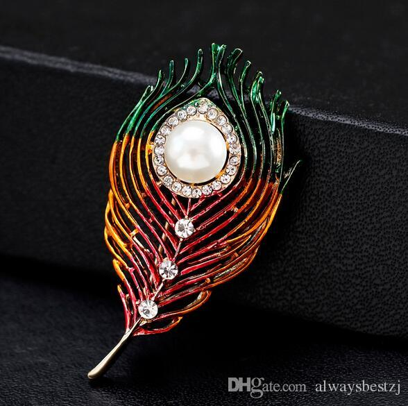 New Fashion Colorful Enamel Feather Brooch Collar Pins Crystal Pearl Corsage Women Scarf Hats Costume Accessoreis Wedding Jewelry