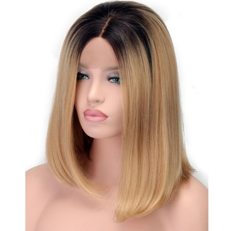 Short Synthetic Wigs Heat Resistant Bob Wig Black To Blond Ombre
