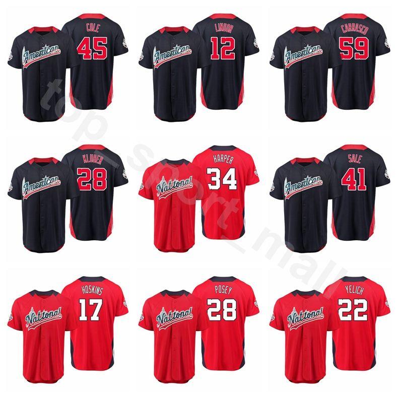 2019 Baseball 2018 All Star Jersey 10 Justin Turner 19 Joey Votto 22  Clayton Kershaw Justin Verlander Women Men Kids American National World USA  From ... 529f5051baf