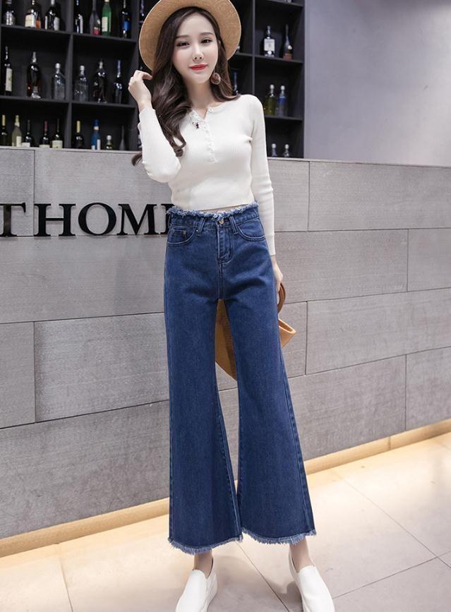 2019 2015 Spring Fashion New Korea Style High Waist Micro Horn Wide Leg  Jiufen Jeans DD102. From Fabian05, $44.69