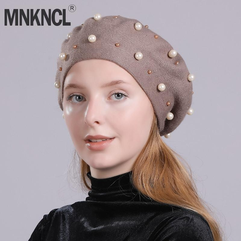 b46cf460d52 MNKNCL Fashion Pearl Berets Hat For Women Autumn Winter Cashmere ...