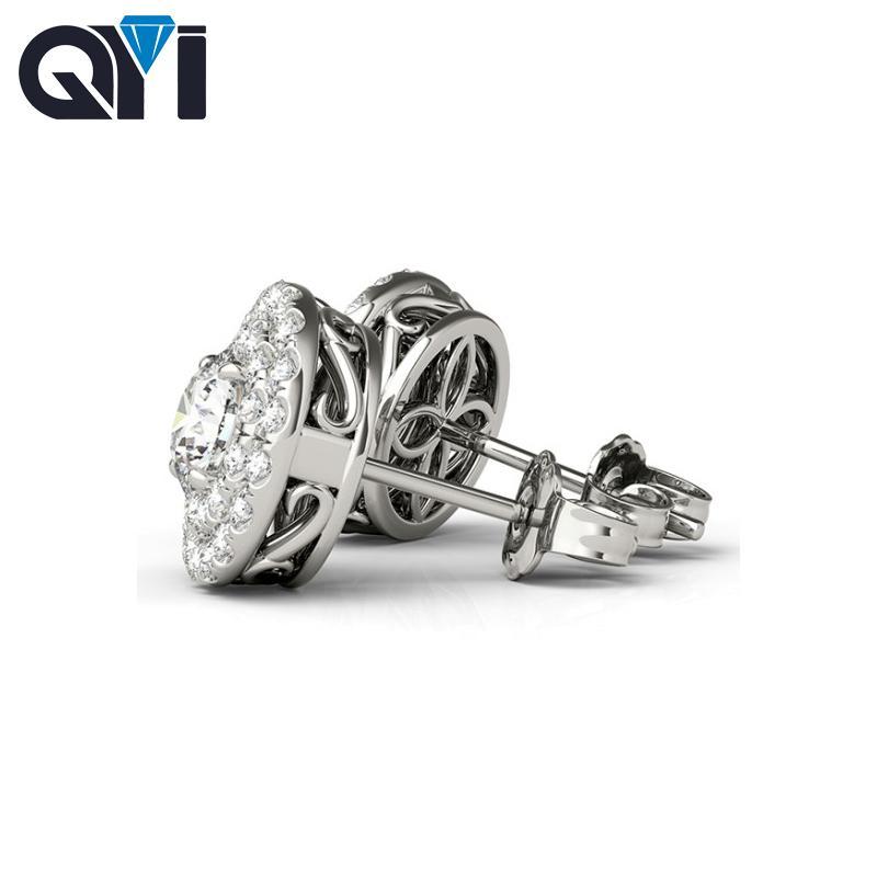 a74514190b33 Compre QYI 925 Plata Esterlina 0.8 Quilates Ronda Completa Simulado Diamante  Pendiente Blanco Oro Bola Stud Pendientes Para Mujeres C18111901 A  29.03  Del ...