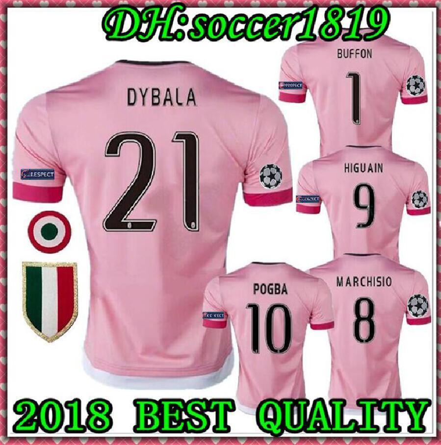 the latest b0828 dd366 2015 16 Juventus Dybala Ronaldo Pjanic Higuaín Champions League Soccer  Jerseys 2016 Futbol Camisa Football Camisetas Shirt Kit Maillot 15 16