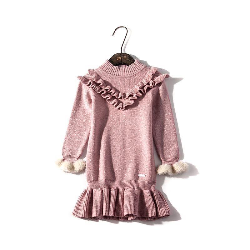 60e54c25fcb2 Childdkivy Girls Knit Sweater Dress 2018 Autumn Winter Casual ...
