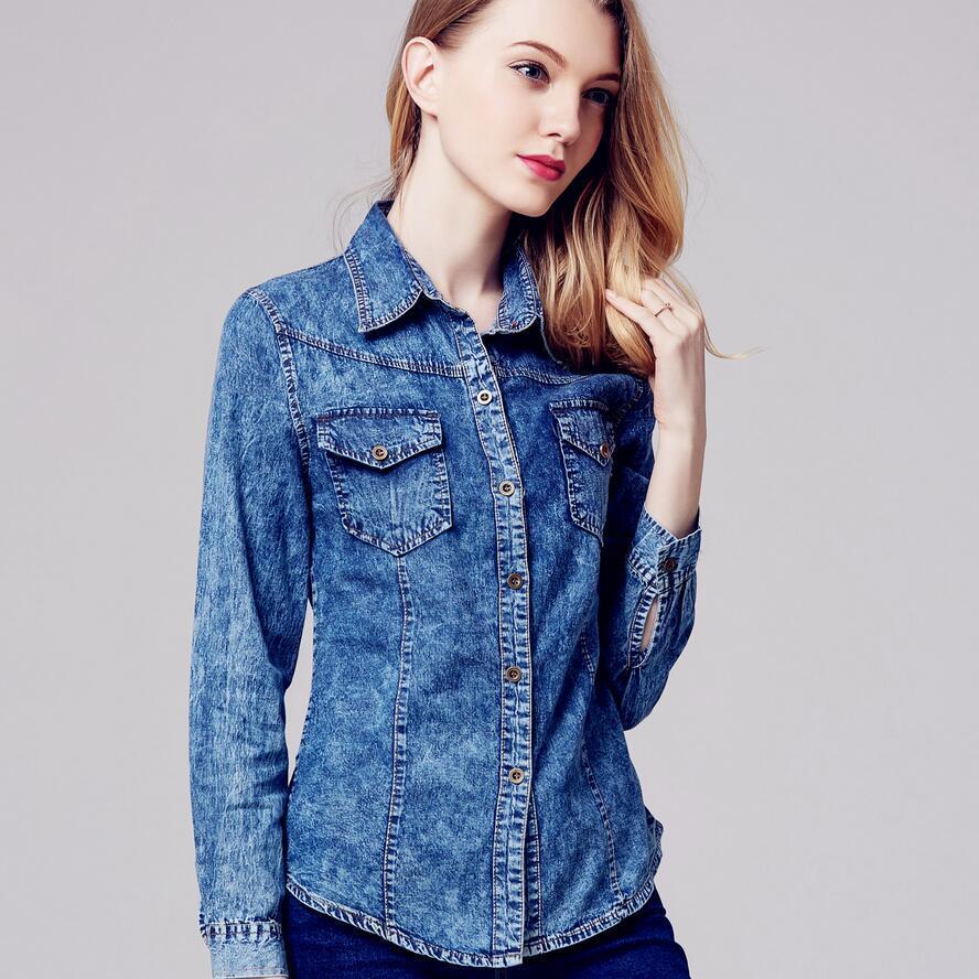 on sale 2a008 8e7b4 Camicie di jeans delle nuove signore Camicia di jeans blu a maniche lunghe  Donna Blusas Camisa Femininas Fashion 2016 Camicie di jeans taglia forti