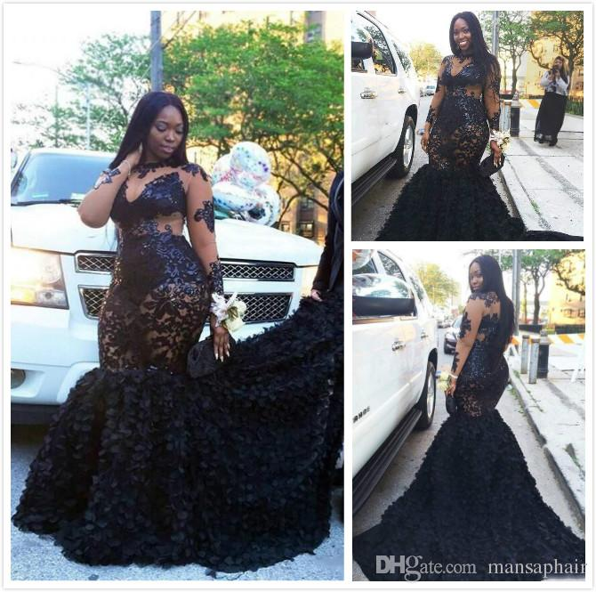 African Plus Size Prom Dresses Long Appliques Sheer Neckline Mermaid ...