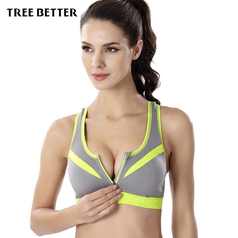 768cab063b Women Sports Bra Wirefree Zipper Padded Push Up Shockproof Bar Yoga ...