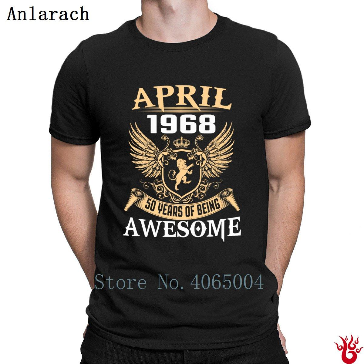 April 1968 50 Jahre Being Awesome T-Shirts Graphic HipHop Top T-Shirt Männer Sommer Kurzarm Normal Authentic Basic Solid