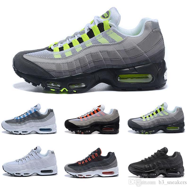 official photos d2fe1 8a106 Großhandel Nike Air Max 95 2018 Neue Männer Frauen Günstige Mens Racer  Freizeitschuhe Premium OG Neon Cool Grey Ing Schuhe Von B3sneakers, 92.9  Auf De.