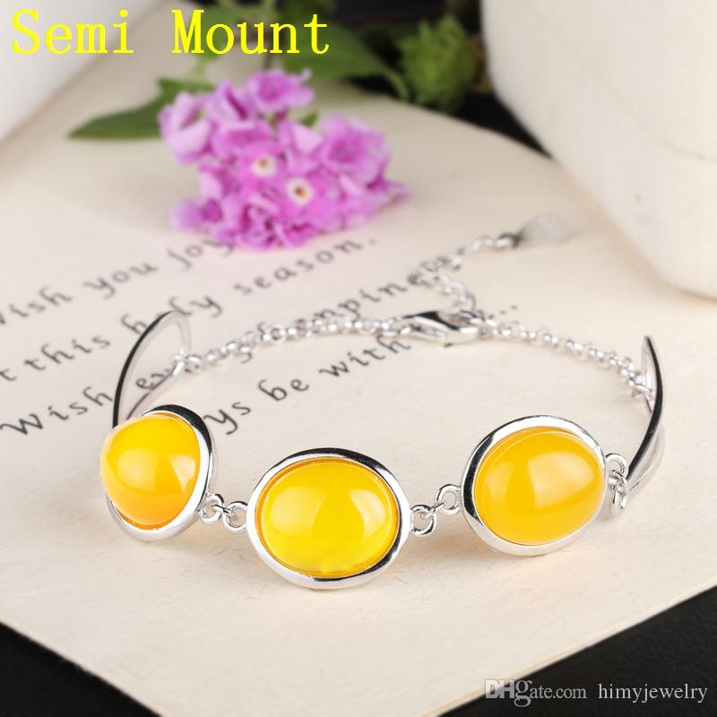 Fine Silver 925 Sterling Silver Bracelet White Gold Color Semi Mount Bracelet 10x12mm Oval Cabochon Opal Agate Amber Setting DIY Stone