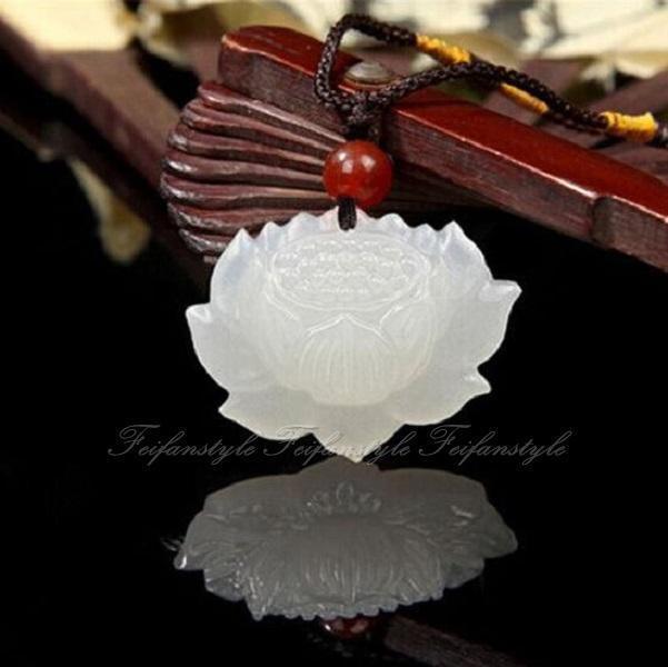 2019 Natural Hand Carved Chinese Hetian Jade Pendant Lotus Flower