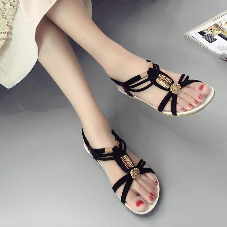2018 Kadın Sandalet Artı Boyutu 36-42 Ayakkabı Kadın Yaz Moda Çevirme Bayanlar Ayakkabı Sandalias Mujer Siyah bej T888