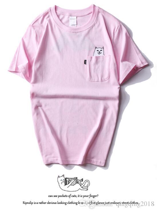 RipNDip Lord Nermal Pocket Camiseta para hombre Gato gracioso Camiseta estampada Streetwear Blanco Negro Gris Manga corta Camisetas de verano