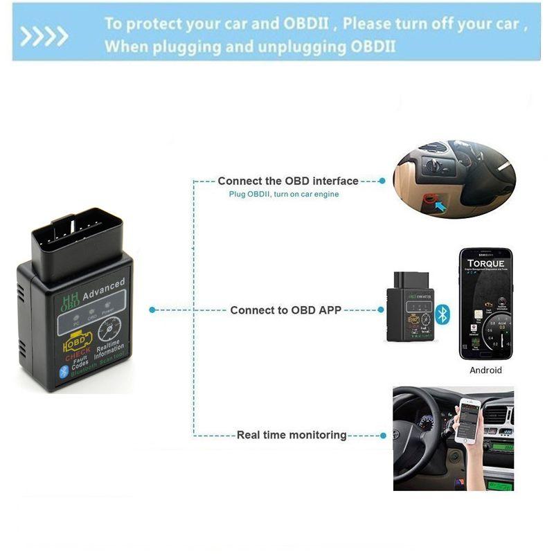 Bluetooth Araba Tarayıcı OBD ELM327 V2.1 Gelişmiş Mobdii OBD2 Adaptörü Otobüs Kontrol Motor Otomatik Teşhis Tarayıcı Kod Okuyucu Aracı