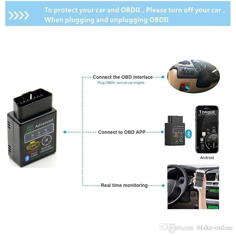 Bluetooth HH OBD ELM327 V2.1 Avancé MOBDII OBD2 EL327 BUS Contrôle Moteur De Voiture Scanner Diagnostique Auto Lecteur de Code Outil D'analyse Adaptateur Interface