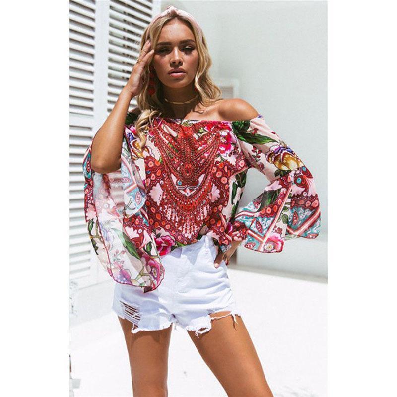 2b3146a7495 2019 Summer Off Shoulder Boho Hippie Shirt Women Casual Flare Sleeve  Bohemian Print Chiffon Shirt Tops Women Blouse From Wanglon02