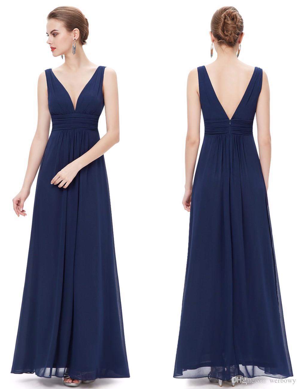 2019 nouvel été sexy col en V longue robe de demoiselle d'honneur blanche en mousseline de soie rouge épaule licol épaules pure main pli robe de bal HY017