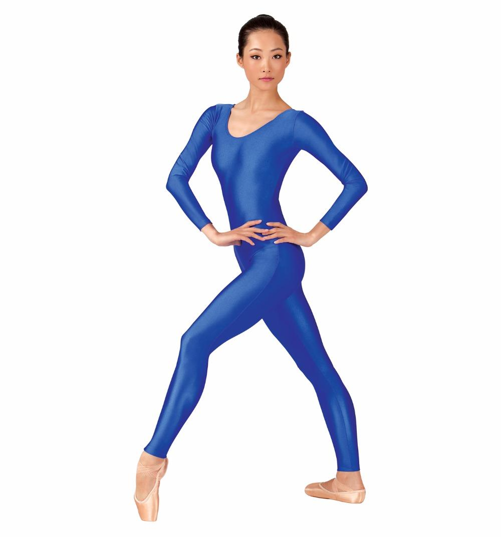 b391bd79c 2019 Womens Long Sleeve Blue Unitard Full Body Lycra Gymnastics Unitards  For Adult Ballet Dance Unitards Second Skin Tight Suits From Beenni