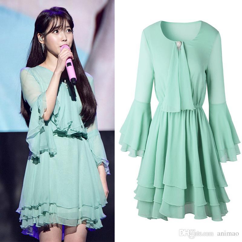 ec54e4df096 2018 Spring Summer New Women s Dress IU Li Zhien Star Same Style Dress  Korean Version Flemish Horn Sleeve Dress