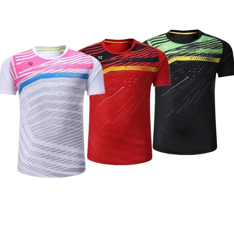9baad13d6f931f 2019 New Badminton Shirt Men   Women Short Sleeves Tennis T Shirt  Breathable Fast Dry Shuttlecock Jerseys Competition Training Ball Clothes  From Screwchina
