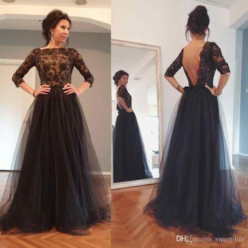 2018 Charming Black Tulle A-Line Mother Of The Bride Dresses Three Quarter Sleeves Appliques Beaded Sexy Open Back Prom Evening Dresses