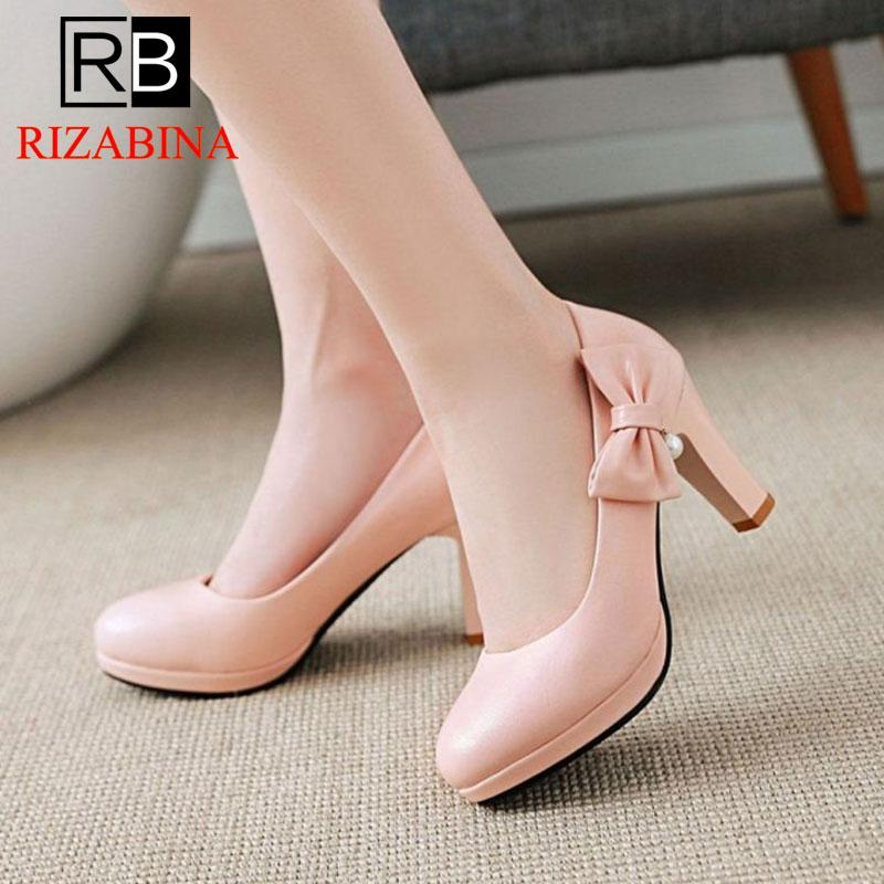 ae86906f00b Wholesale Women s High Heels Shoes Sweet Style Slip On Round Toe Pumps  Platform Bowknot Party Thick Heels Shoes Women Size 31-43 Online with   86.35 Pair on ...