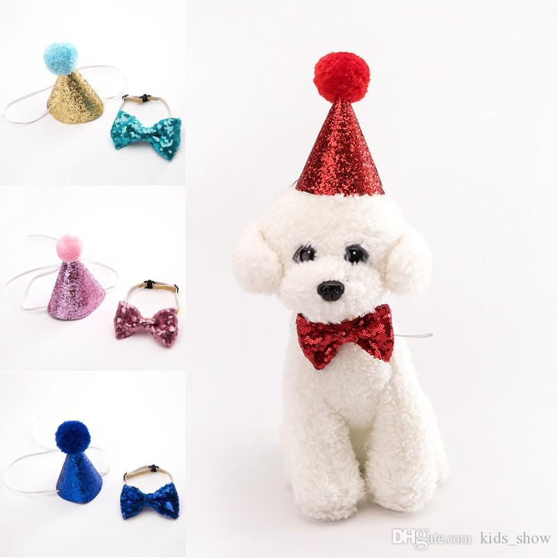 2019 Pet Dog Cat Birthday Party Hat Bowknot Cosplay Cute Bow Tie Headwear Sequin Design Cap Pets Accessories From Kids Show 064