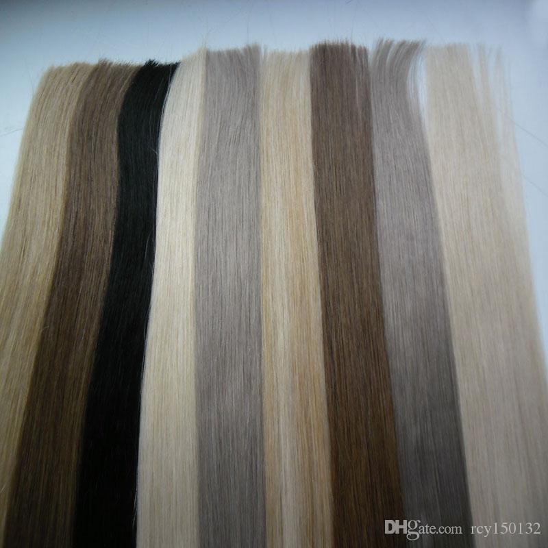 Cinta en las extensiones de cabello humano 40 unids 100 g de cinta humana extensión de cabello humano recto brasileño pu piel trozo