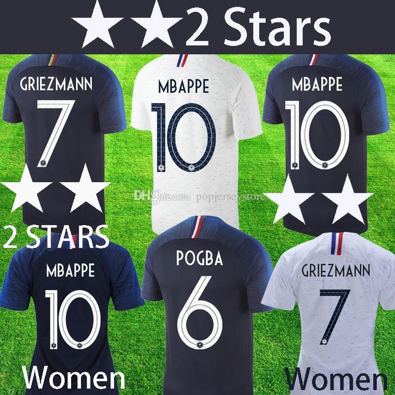 2018 World Cup Champion 2 Stars MBAPPE POGBA Soccer Jersey PAYET ... 37c77bacc