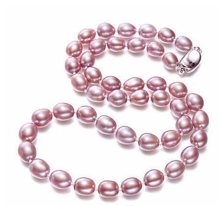 7-8mm White Pink Purple Rice Natural Pearl Necklaces 18inch 925 Silver Clasp For Women