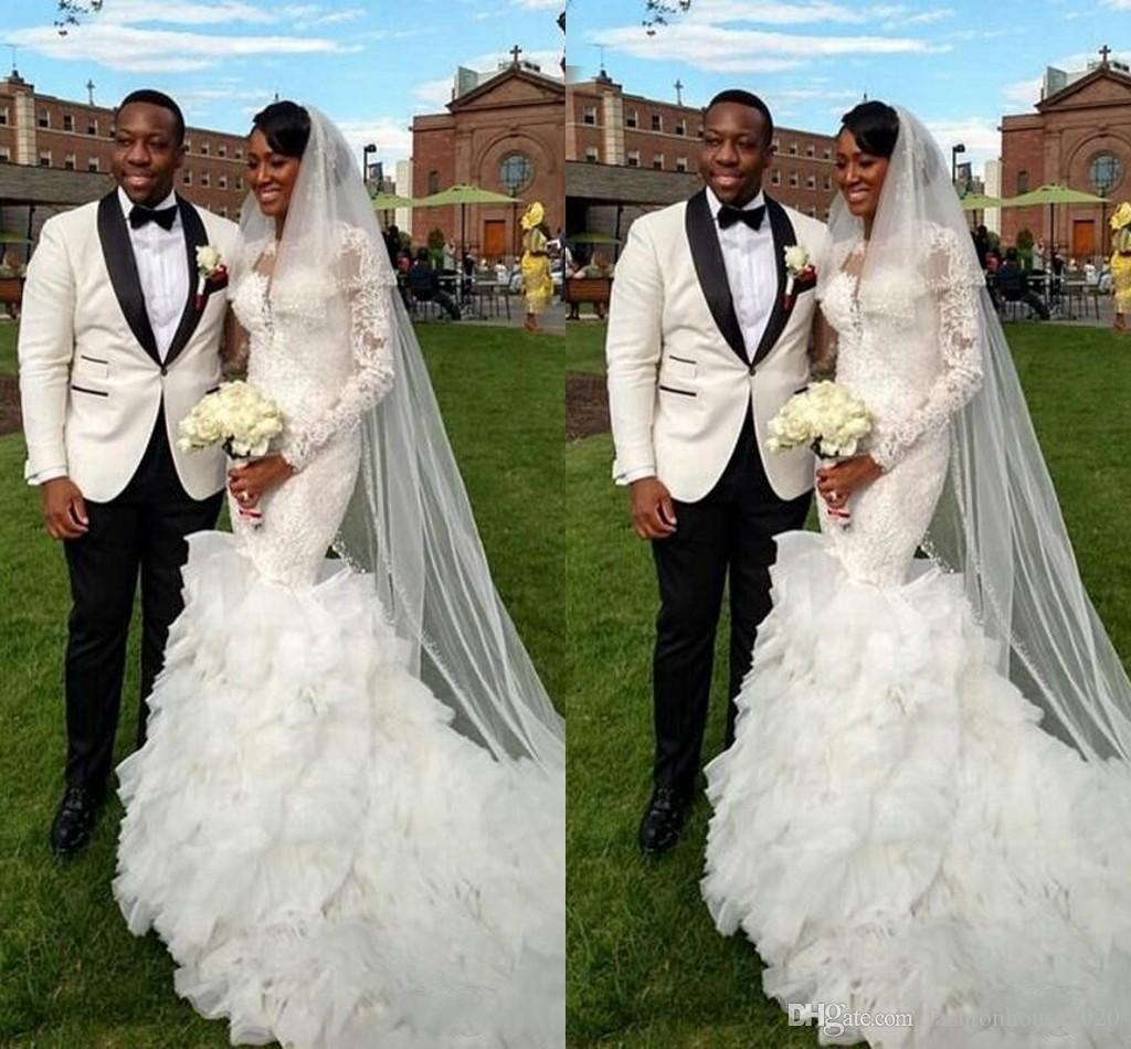 240a8f85100 2018 African Mermaid Wedding Dresses Jewel Neck Long Sleeves Ruffles Lace  Applique Beaded Organza Illusion Court Train Tiered Bridal Gowns Designer  Mermaid ...