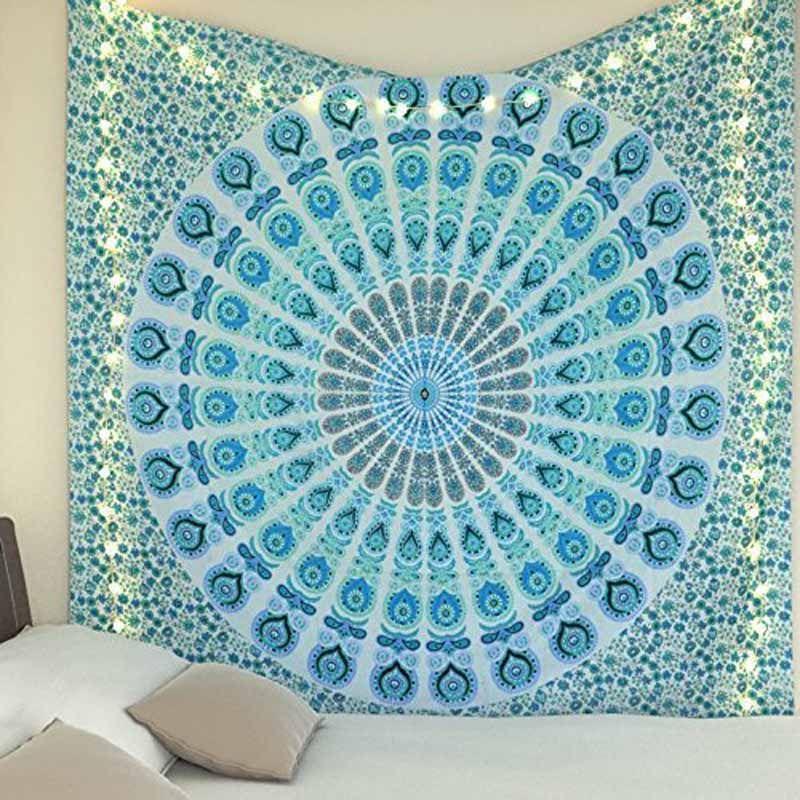 Acheter Boheme Mandala Tapisserie Bleu Imprime Tenture Murale Inde