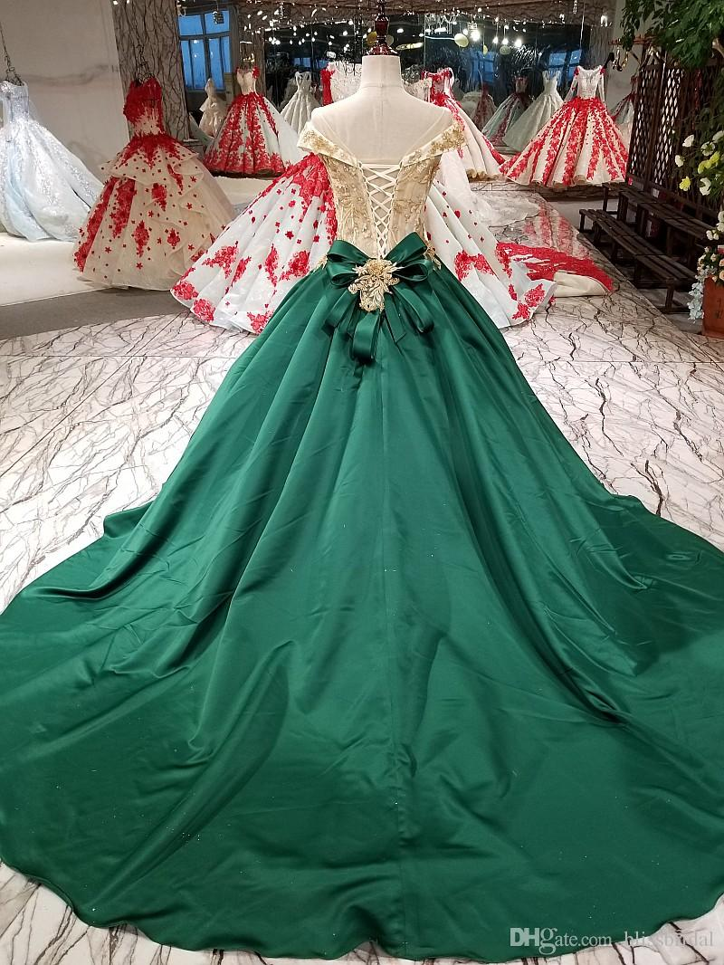 Gold Top and Hunter Green Ball Gown Prom Dresses Off The Shoulder Sheer Neck Applique Bridal Gown Lace-up Floor Length Formal Evening Dresse