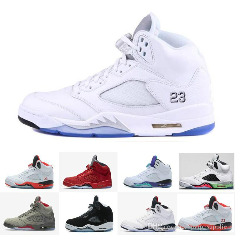 5d6777f80ab Acheter Avec Boîte Nouveaux Hommes Chaussures De Basket Ball Baskets 5 Mens  Sports Blanc Ciment Olympique 5s V Tennis Formateurs Chine Marque Gros  Zapatos ...