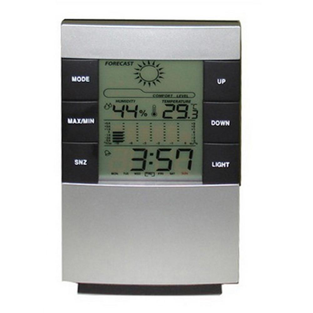 Indoor Home Weather Station Temperature Humidity Meter LED Backlight Digital Thermometer Hygrometer Alarm Clock Calendar
