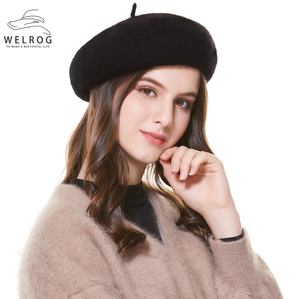 b4524fe47820f WELROG High Quality Wool Women Knit Beret Winter Warm Female British ...