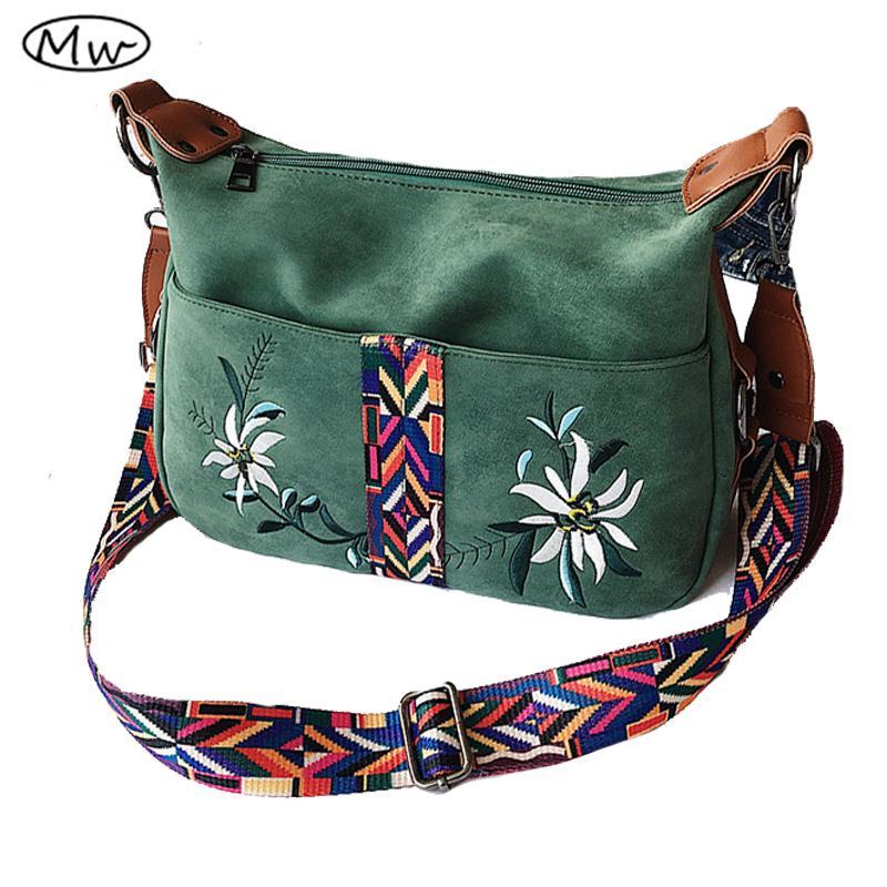 804d682545 Moon Wood Brand Hobos Bag National Wind Colorful Wide Strap Shoulder Bag  Women Leather Scrub Messenger Crossbody Bags Bolsos Leather Backpacks Hobo  ...