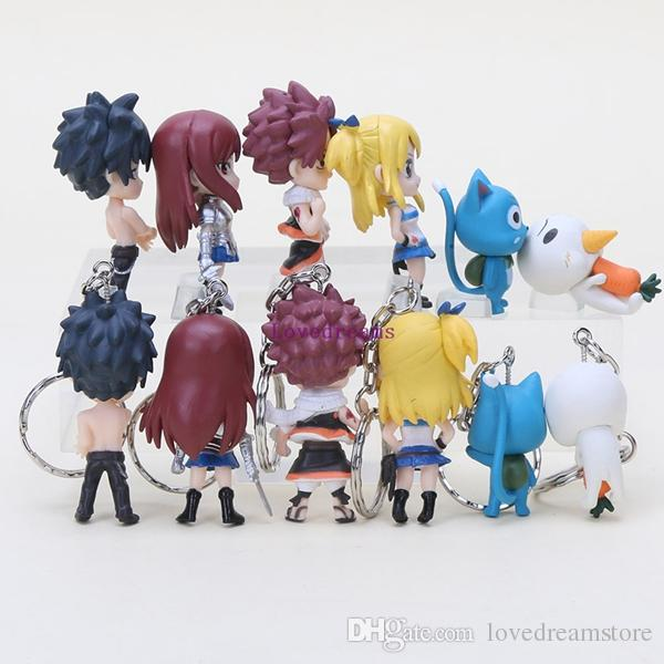 keychain Fairy Tail Figure Natsu Happy Lucy Gray Elza pendant phone keyring pvc Action Figures toys
