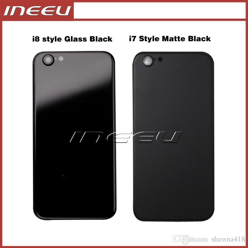 Tampa traseira preta habitação para iphone 6 6s como 7 de alumínio de metal de volta tampa da porta da bateria de substituição para iphone 8 estilo preto fosco