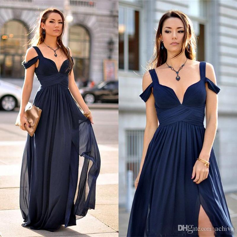 Popular Dark Navy Prom Dresses 2018 Ruched Chiffon Deep V Neck Split Long Evening  Gowns Sexy Party Dresses For Women Semi Formal Gown Short Prom Dresses ... 8f56efeb0