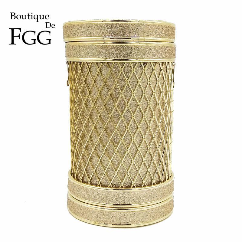53d8b4c7c1 Boutique De FGG Hollow Out Gold Glitter Bucket Kettle Women Fashion ...