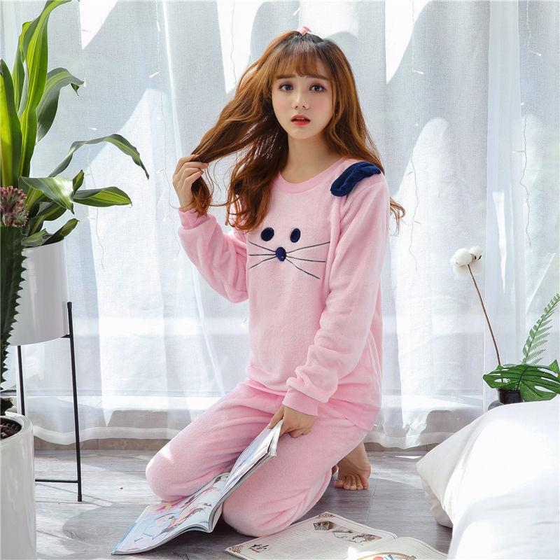 7e5424ac1740 2019 Womens Pajama Sets Women Winter Purple Sexy Lace Pajamas Set Flannel  Full Trousers Lady Two Piece Pajama Set Print Home Clothing From Melome