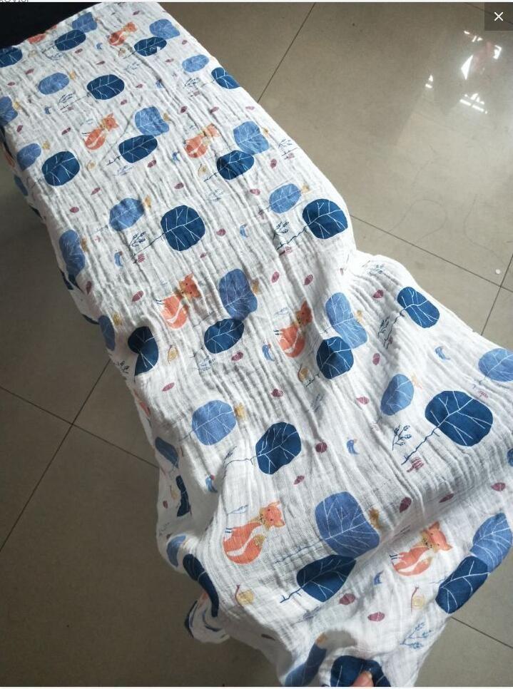 Muslin Cotton Blankets Kids Fox Giraffe Patterns Girls Boys Clothes Newborn Swaddle Muslin Infant Towel Baby Wrap 74 Styles
