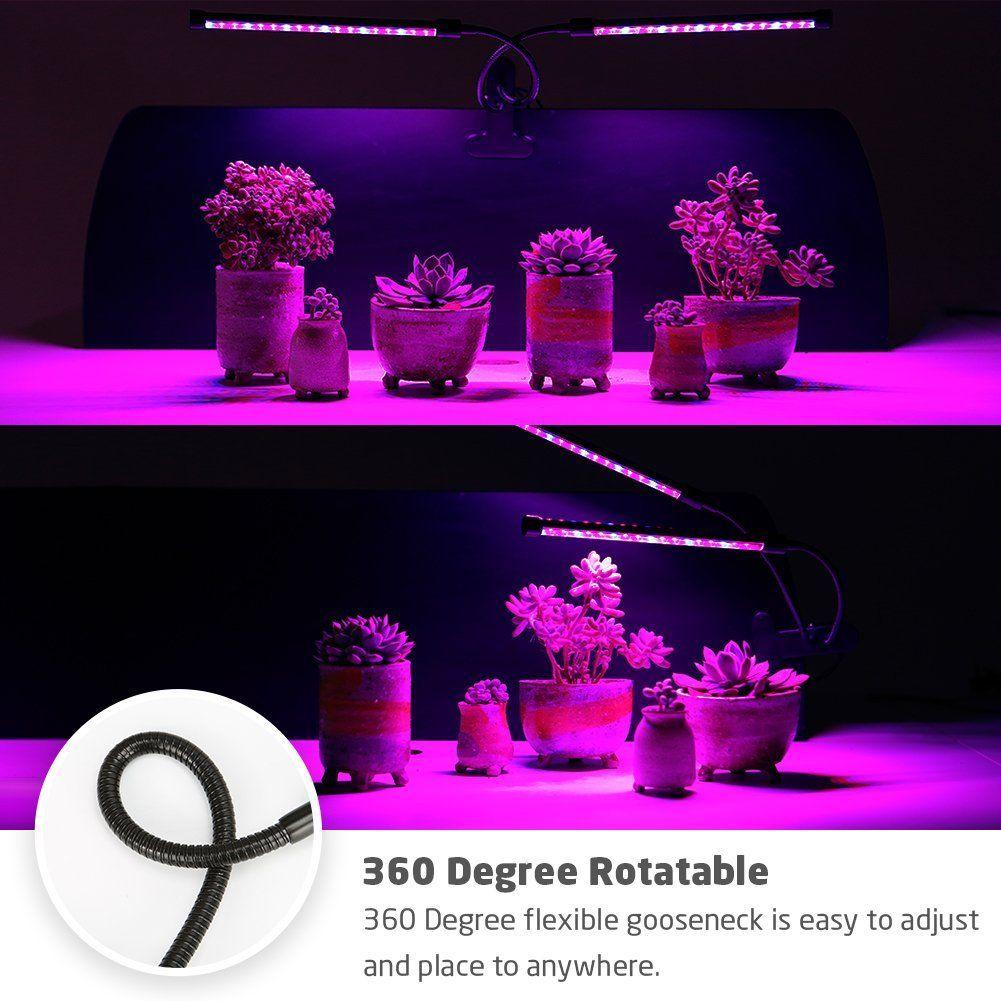 9/18 / 27W Dual Head Timing Wachsen Lampe 36 LED Chips mit rot / blau Spektrum für Zimmerpflanzen mit einstellbarem Schwanenhals