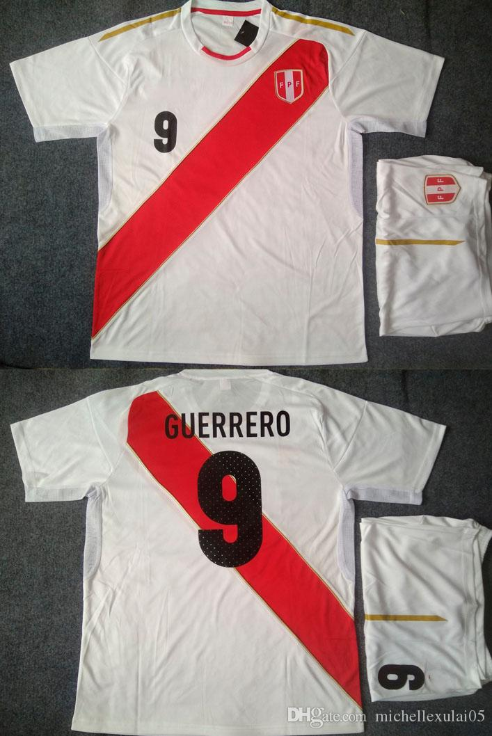 Peru 2018 Home White Soccer Jerseys Adult\'s Thai Quality Short ...