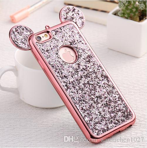 huge discount 5f2ff 5357f Glitter Cover For iPhone 6 6S Plus iPhone 7 8 Plus X Phone Case Cute 3D  Coque Capa For iPhone SE 5S S Cases