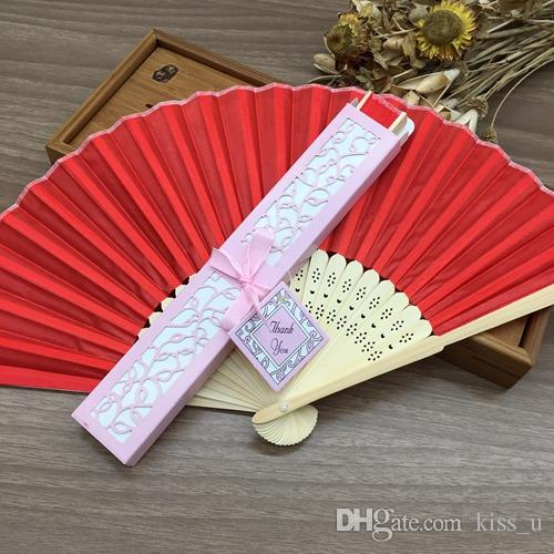 Hand Fans Spun Silk Wedding Fans with Laser Cut Gift Box Wedding Gifts for Guests